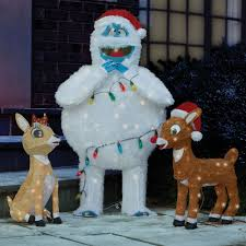 Christmas Yard Decorations The Rudolph Clarice And Bumble Lawn Sculptures Hammacher Schlemmer