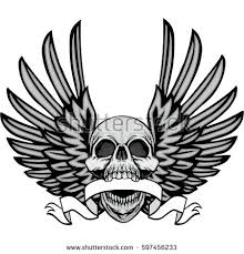 coat arms skull wings grunge stock vector 597456233
