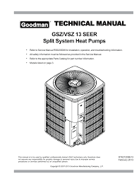 technical manu al technical manual gsz vsz 13 seer