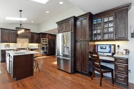 espresso kitchen cabinets with wood floors home design ideas