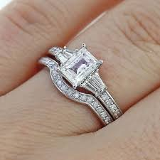 engagement ring and wedding band set 2 65ct emerald cut diamond engagement ring matching wedding band