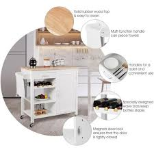 kitchen cabinet door magnets home depot costway white kitchen cart with wood top and wine