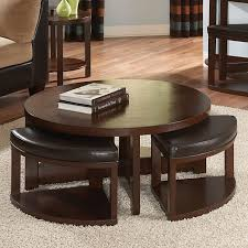 modern round cocktail wooden table with 4 ottomans with storage