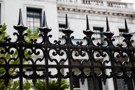 spikes on wrought iron fence stock image image of wall barrier