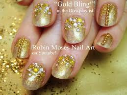 easy gold glitter gradient nails sparkle ombre nal art tutorial