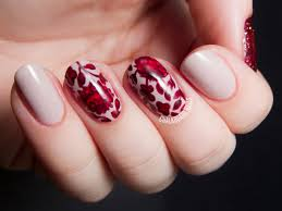 ruby red japanese floral print chalkboard nails nail art blog