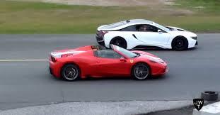 Ferrari 458 Colors - drag race ferrari 458 speciale aperta vs bmw i8