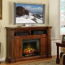 furniture brown stained wooden fireplace media cabinet with tv