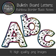 Music Note Decor Bulletin Board Letters Rainbow Border Music Notes Classroom Decor