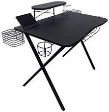 atlantic furniture gaming desk black carbon fiber amazon com atlantic 33950212 gaming desk pro kitchen dining