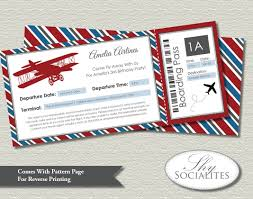 vintage airplane boarding pass invitations ticket up up and