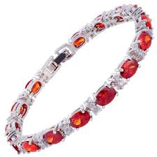 gold plated tennis bracelet images Sarotta jewelry oval cut garnet ruby 18k white gold plated tennis jpg