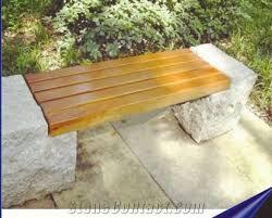 Natural Stone Benches Natural Granite Chairs Support Wooden Stone Bench China Refine