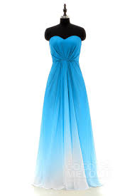 Swedish Blue Charming Sweetheart Natural Floor Length Ombre Chiffon Sleeveless
