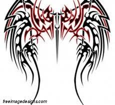 black and tribal wing design free image