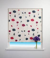 Thermal Blackout Blinds Floral Trail Blackout Roller Blind Red Free Uk Delivery Terrys