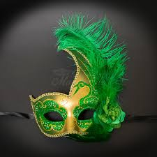 green mardi gras mask mardi gras burlesque feather masquerade mask gold green m6131