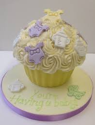 baby shower buttercream giant cupcake cinnamon square