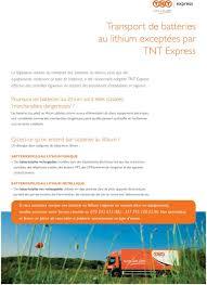 Tnt Express International Quels Services De Transport Envoi Transport De Batteries Au Lithium Exceptées Par Tnt Express Pdf