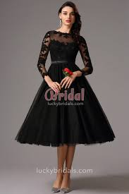 evening dresses sleeve tea length illusion black lace and tulle