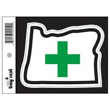 Pot Flag Oregon Green Cross Sticker Decal U2013 Little Bay Root
