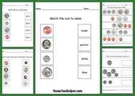 money worksheets match coin front coin back match coin to value