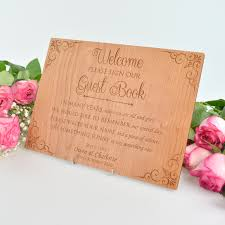 guest book sign in engraved wooden wedding or engagement party guest book sign with
