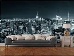 Skyline Wallpaper Bedroom Custom Black And White Retro Wallpaper New York Manhattan Skyline