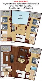 bay lake tower 2 bedroom villa floor plan savae org