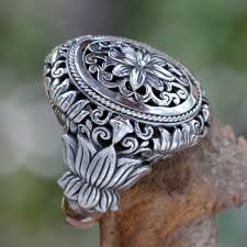 silver flowers made floral sterling silver cocktail ring precious lotus