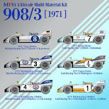 porsche 908 mfh hiro kit porsche 908 03 martini gulf 1971 versions