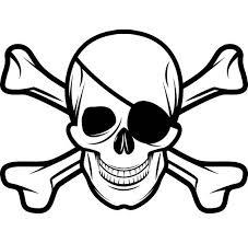 pirate skull 5 crossbones eye patch grin jolly roger ship