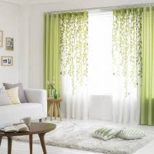 livingroom curtain lime green and white leaf print poly cotton blend country living