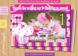 first birthday thank you card cupcake thank you birthday party lil