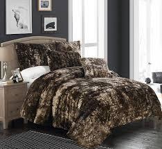 Fake Fur Throws Brielle Faux Fur Blanket Full Queen Tundra Swan Dark Brown Ebay