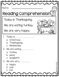 november reading comprehension first grade worksheets