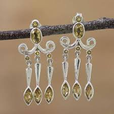 Citrine Chandelier Earrings Citrine And Sterling Silver Chandelier Earrings From India