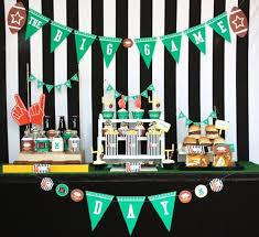 football party decorations football party snack table guest feature snacks bowls and