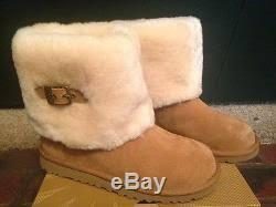 ugg womens ellee boots nib ugg big ellee chestnut suede boots with sheepskin