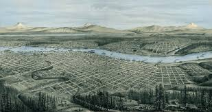 Map Of Portland Portland Or 1879 Panoramic W Blue Water Wall Map