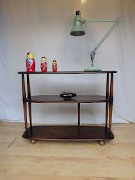 vinatge ercol room divider bookshelf shelves tv stand tolley in