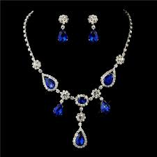 prom necklace 4 sets of silver clear royal blue necklace earrings bridal