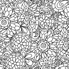 seamless nature pattern with line flowers for coloring page
