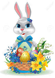 easter bunny with basket of eggs contains transparent objects