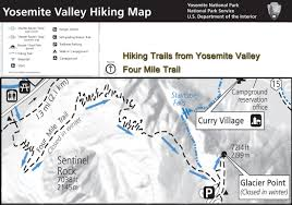 Yosemite Valley Map Yosemite Hiking Map Four Mile Trail The Trail Starts In The
