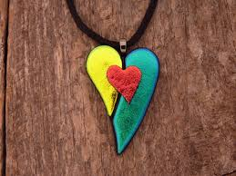 How To Make Fused Glass Jewelry - dichroic fused glass heart necklace