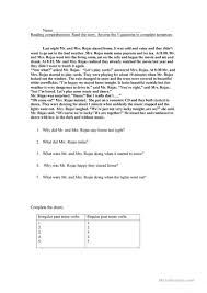 Worksheets For 6th Grade Reading Past And Past Continuous Reading Comprehension And Grammar