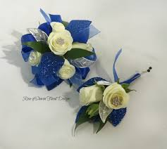 royal blue corsage prom homecoming of floral designs