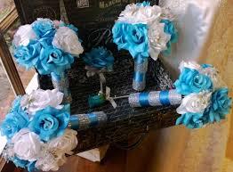 turquoise flowers 17 malibu blue white silver wedding flower set bridal