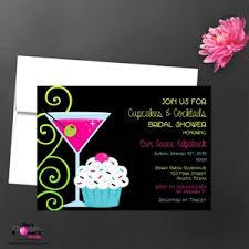 cupcakes and cocktail bridal shower invitation